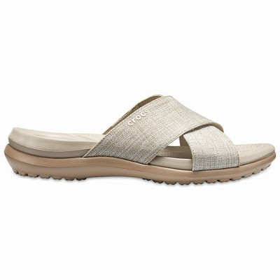 Crocs Capri Shimmer Cross-band Sandalen Damen Grau | DE84124-180