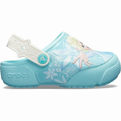 Crocs Fun Lab Frozen Elsa Lights Clogs Kinder Blau | DE59876-171