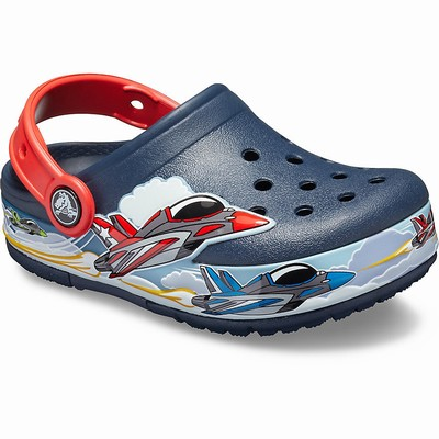 Crocs Fun Lab Jets Band Lights Clogs Kinder Navy | DE56839-478
