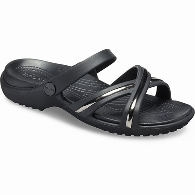 Crocs Meleen Metal-block Cross-band Sandalen Damen Schwarz | DE42079-920